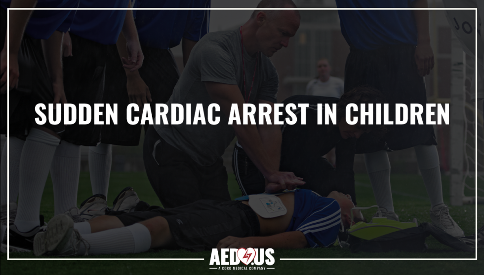 Black background with title- sudden cardiac arrest in children featuring soccer player unconscious