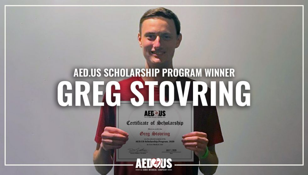 Young Man holding AED.US scholarship