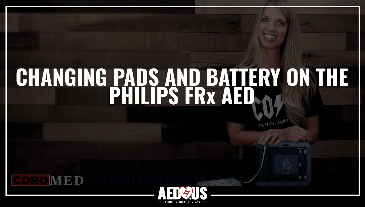 Woman holding FRx AED- How to Change FRx pads and battery
