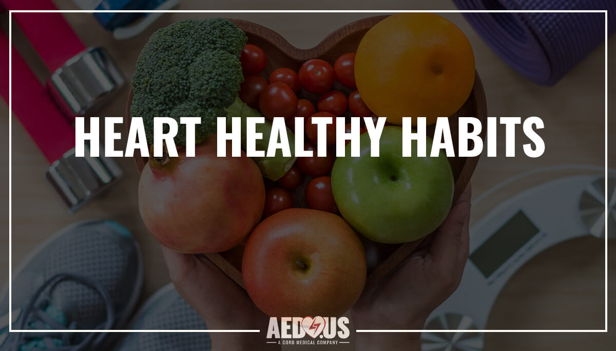 Heart Healthy Habits blog. Fruits and veggies in a heart-shaped bowl