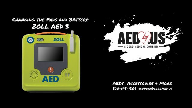 AED 3 AED changing pads and battery