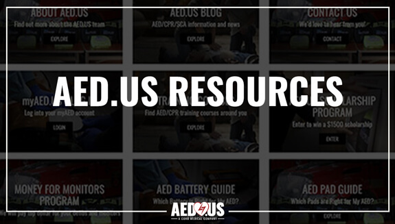Screenshot of a computer screen showing the AED.US Resources page on AED.US website.
