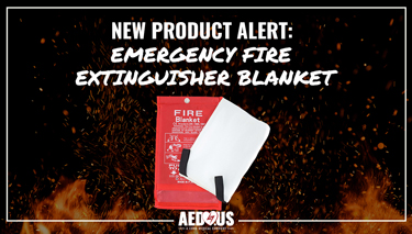 Fire background with red emergency fire extinguisher blanket in the forefront.