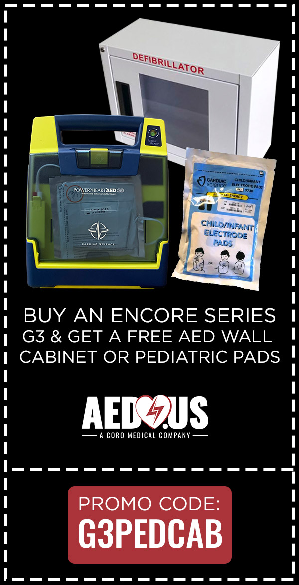 Buy G3 AED, Get Free Wall Cabinet or Pediatric Pads